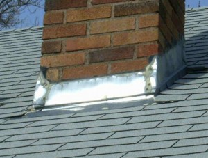 Wood stove chimney flashing installation
