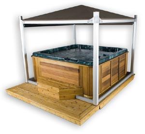 Hot tub gazebo building