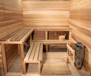 Outdoor sauna interior finishing