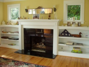 Make a fireplace more practical adding homemade bookshelves