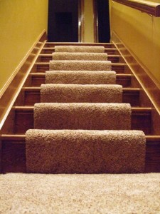 Installing carpet on stairs