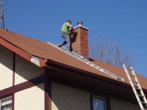Repairing the chimney masonry