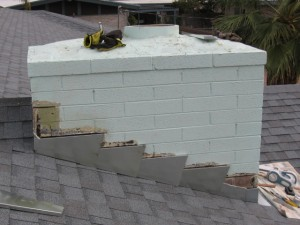 Sealing a chimney flashing
