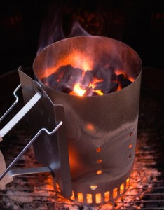 Using a chimney barbecue starter