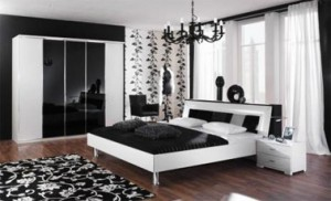 How to decorate a black and white bedroom